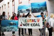 Coral not coal protest at India Finance Minister Arun Jaitley Visit to Australia. April 1, 2016.