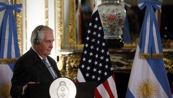 El Secretario de Estado de los Estados Unidos, Rex Tillerson, es visto durante una conferencia de prensa conjunta en el Palacio San Martín en Buenos Aires, Argentina, el 4 de febrero de 2018.