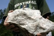 A barite rock from an open-cut mine in Chicomuselo, the Blackfire operation site. August 27, 2008.