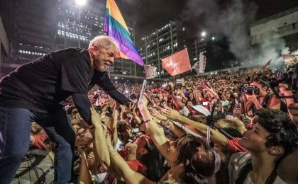 Former Brazilian president Luiz Inacio Lula da Silva with supporters at a recent Workers Party (PT) rally in Sao Paulo, Brazil.
