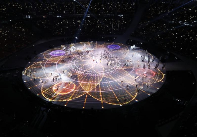 An aerial view of the Olympic stadium in Pyeongchang, South Korea.