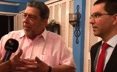 Saint Vincent Prime Minister Ralph Gonsalves speaks to teleSUR during an interview in Haiti Friday.