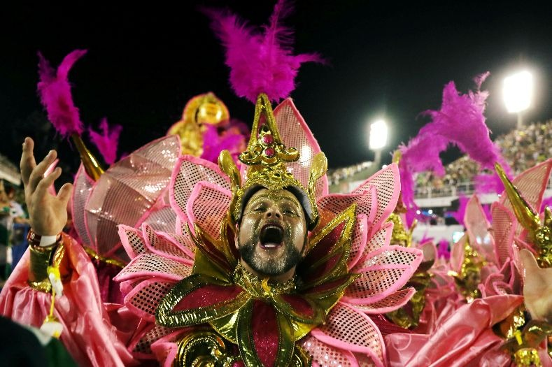 An Imperio Serrano samba school act perform during the first night of the parade at the Sambadrome in Rio de Janeiro, Brazil February 12, 2018.