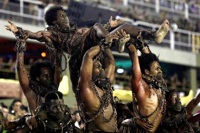 A controversial Paraiso do Tuiuti samba school performance during the first night of the parade at the Sambadrome in Rio de Janeiro, Brazil February 12, 2018.