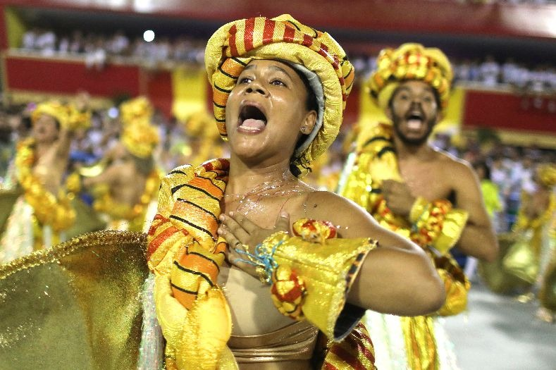 A group from Paraiso do Tuiuti samba school performs during the first night of the parade at the Sambadrome in Rio de Janeiro, Brazil February 12, 2018.