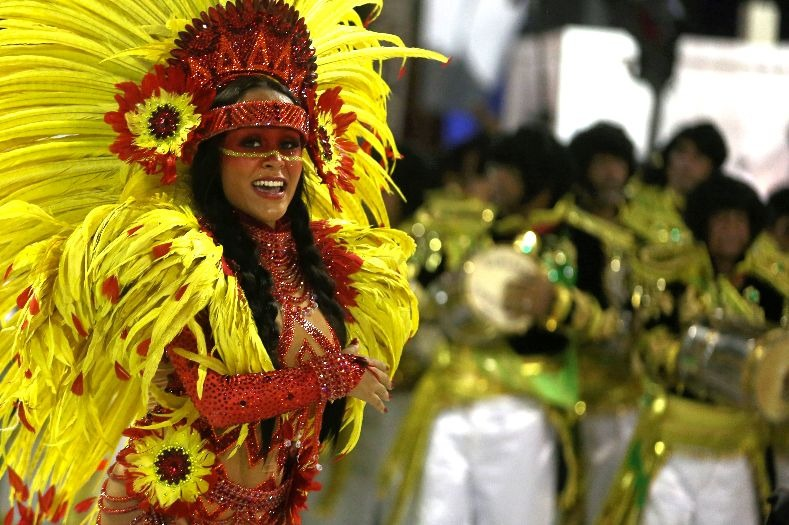 Drum queen from Sao Clemente samba school during the first night of the parade at the Sambadrome in Rio de Janeiro, Brazil February 12, 2018.