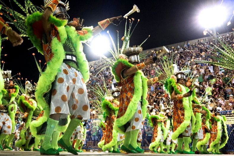 A group of revelers from the Grande Rio samba school during the first night of the parade at the Sambadrome in Rio de Janeiro, Brazil February 12, 2018...