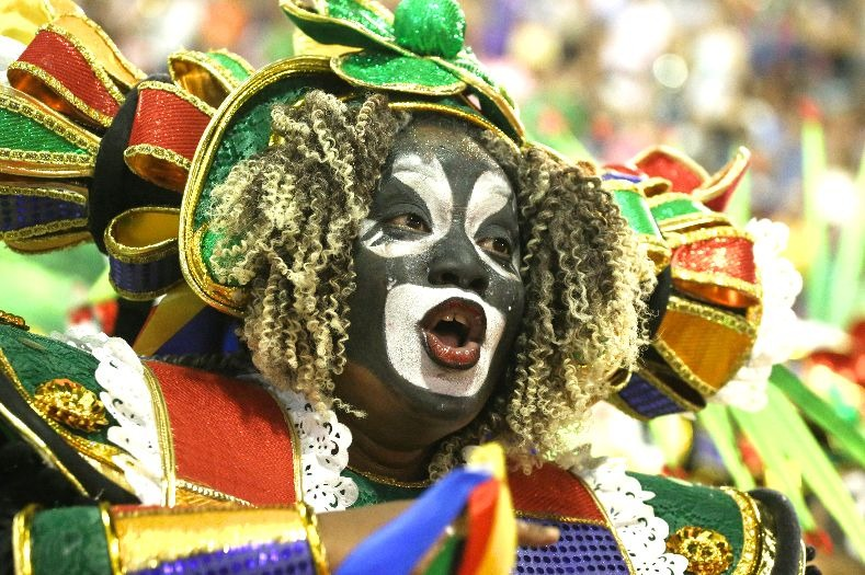 A performer from the Grande Rio samba school during the first night of the parade at the Sambadrome in Rio de Janeiro, Brazil February 12, 2018...
