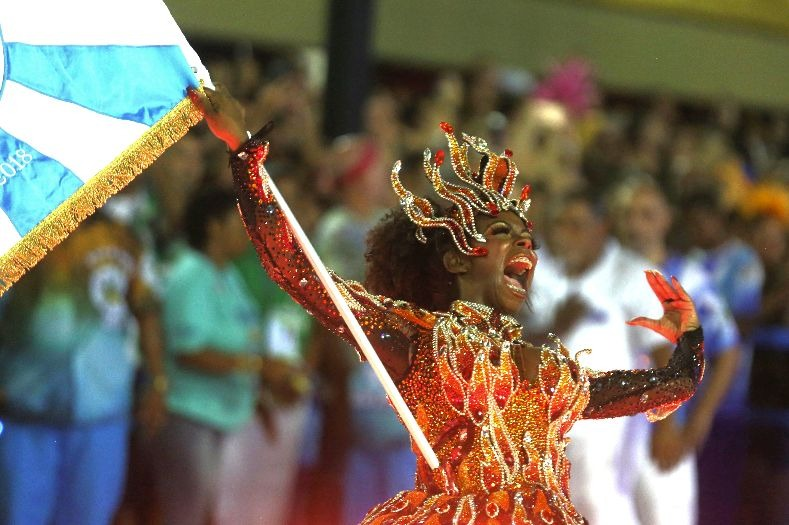 A solo act from the Vila Isabel samba school during the first night of the parade at the Sambadrome in Rio de Janeiro, Brazil February 12, 2018...