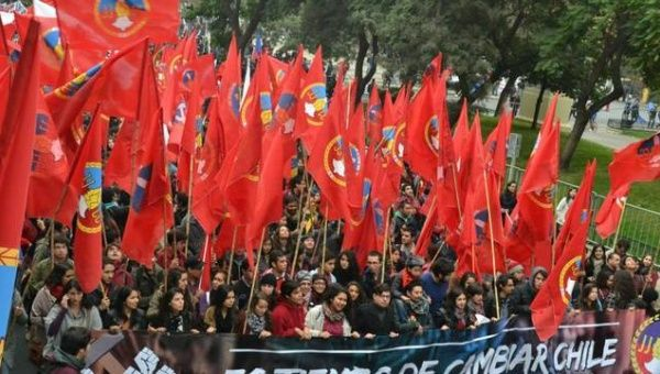 Communist Youth Marchers in Chile