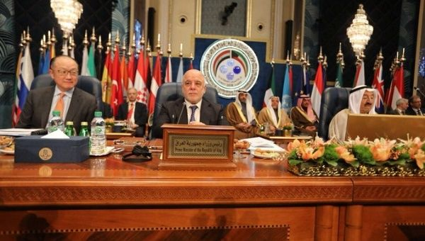Iraqi Prime Minister Haider al-Abadi attends the Kuwait International Conference for Reconstruction of Iraq, in Bayan, Kuwait.