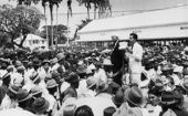 Cheddi Jagan addressing workers in 1948.