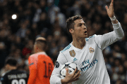 Real Madrid's Cristiano Ronaldo celebrates scoring their first goal
