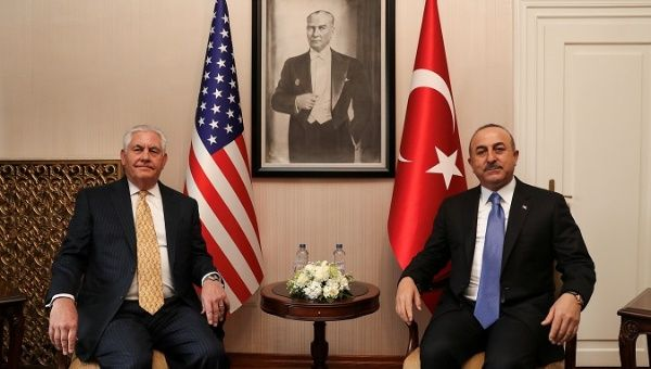 Turkish Foreign Minister Mevlut Cavusoglu meets U.S. Secretary of State Rex Tillerson in Ankara, Turkey, Feb. 16, 2018.