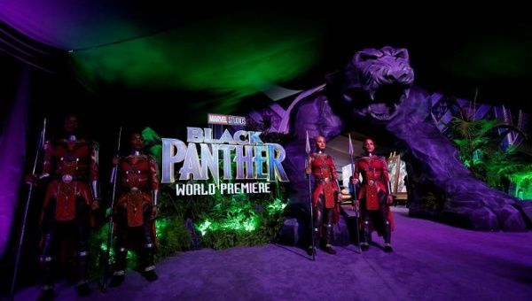 "A general view of the entrance for the premiere of ""Black Panther"" in Los Angeles, California, U.S., January 29, 2018."