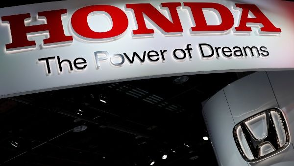 The Honda Booth Displays Company Logo At North American International Auto Show In Detroit