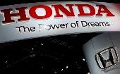 The Honda booth displays the company logo at the North American International Auto Show in Detroit, Michigan, U.S., Jan. 16, 2018.