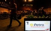 The new Venezuelan cryptocurrency the Petro logo is seen on a monitor during a news conference in Caracas, Venezuela, January 31, 2018.