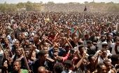 Supporters of Bekele Gerba, secretary general of the Oromo Federalist Congress (OFC), chant slogans to celebrate Gerba