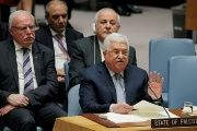 Palestinian President Mahmoud Abbas speaks during a meeting of the United Nations Security Council at UN headquarters in New York, U.S., Feb. 20, 2018.