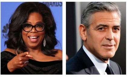 Oprah Winfrey (L) and George Clooney