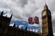 The Union Flag flies near the Houses of Parliament in London, Britain.