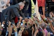 Former Brazilian President Luiz Inacio Lula da Silva is greeted by supporters during a rally in Belo Horizonte, Brazil Feb. 21, 2018.
