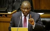 South African President Cyril Ramaphosa speaks in parliament in Cape Town.