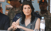 U.S. Ambassador to the United Nations Nikki Haley watches a training session of the Honduras National Police Special Forces at their base in Tegucigalpa.