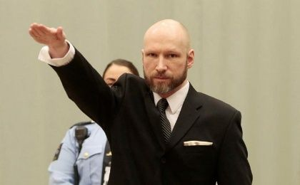 Anders Behring Breivik raises his right hand during the appeal case in Borgarting Court of Appeal at Telemark prison in Skien, Norway, 10 January 2017.