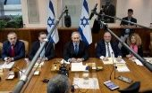 Israeli Prime Minister Benjamin Netanyahu attends the weekly cabinet meeting at his office in Jerusalem.