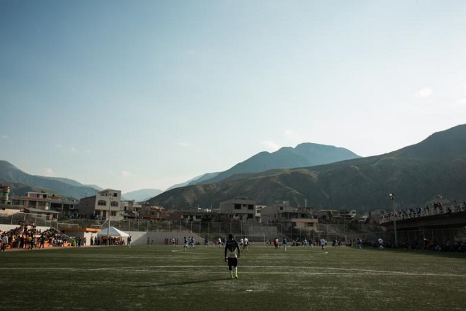 Soccer players practice in the morning in El Valle del Chota