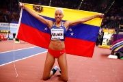 Venezuela's Yulimar Rojas celebrates winning the Women's Triple Jump Final at the IAAF World Indoor Championships in  Birmingham, England.