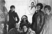 Morrison (second from the left) pictured alongside June Jordan, Alice Walker, Ntozake Shange, Lori Sharpe and Audrey Edwards at a black women's writing group in 1977.