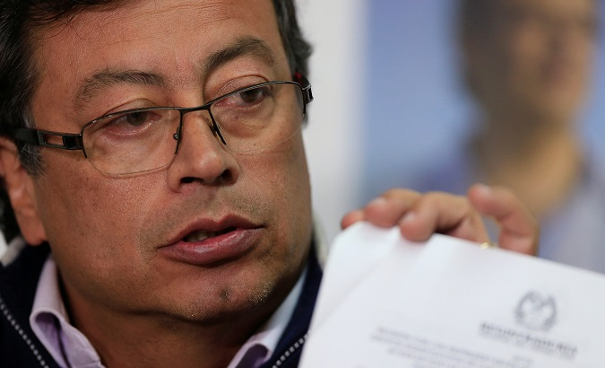 Presidential candidate Gustavo Petro speaks during a news conference in Bogota, Colombia February 26, 2018