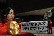 A Greenpeace activist during a protest against Canadian mining companies in Mexico. May 23, 2006.