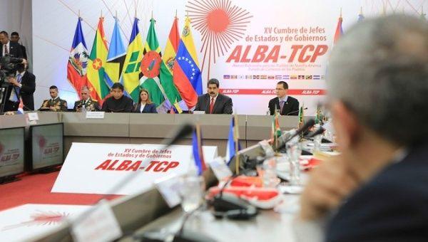 Venezuelan President Nicolas Maduro makes his opening speech at ALBA leaders summit.