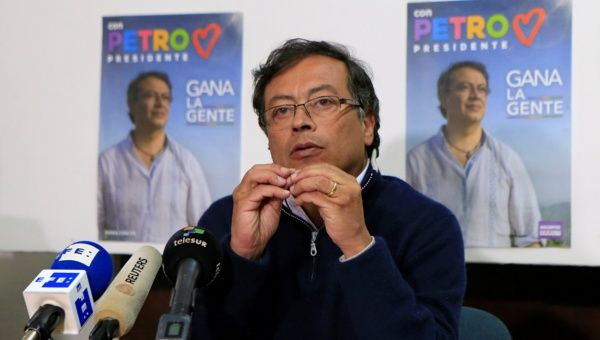 Presidential candidate Gustavo Petro speaks during a news conference in Bogota, Colombia February 26, 2018.