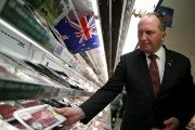 Australian Minister for Agriculture and Water Resources Barnaby Joyce looks at Australian beef as he visits at a supermarket to promote Australian products in Tokyo