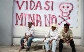 "Environmental activists face danger of death in Mexico. The banner reads ""Life yes, mine no"" in Zacualpan, a small town struggling against mines."