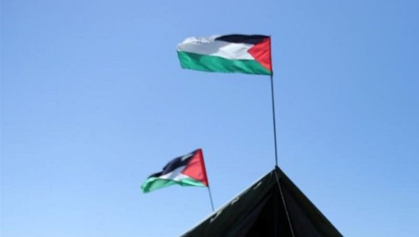 Top of a protest tent near the border with Israel, in the southern Gaza Strip.