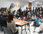 Maccih members speak to the press regarding their concern of the proposed reform to the Honduran Seizure of Assets Law. March 8, 2018.