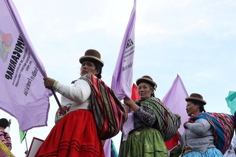 In Peru Campesino Indigenous women joined the demonstrations.