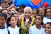 Yulimar Rojas celebrates her gold medla victory in the Women's Triple Jump with kids in Caracas, Venezuela.