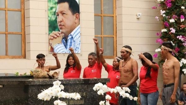 Hugo Chavez commemoration ceremony takes place at the Miraflores Presidential Palace ahead of the ALBA leaders summit in Caracas, Venezuela.