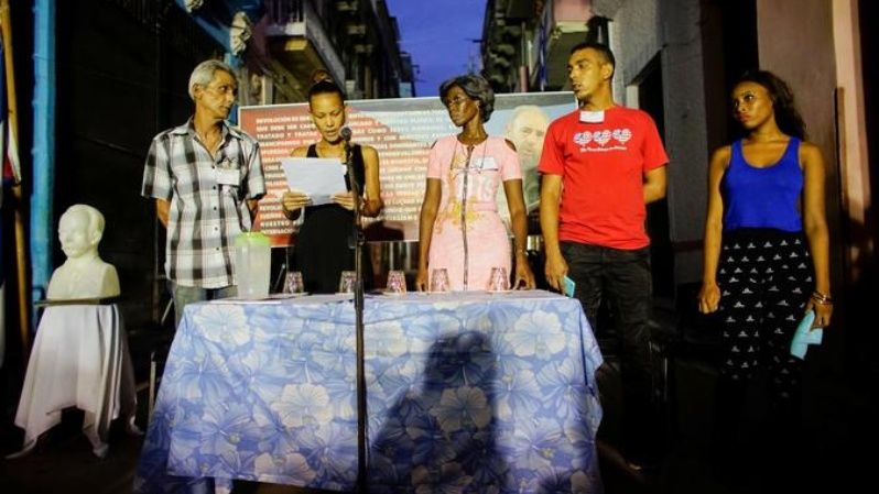 Members of the local electoral commission speak during the nominations of candidates for municipal assemblies in a neighbourhood of Havana, Cuba, September 4, 2017.