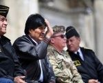 Bolivia's President Evo Morales and high ranking military officers attend a ceremony to commemorate maritime conflict between Chile and Bolivia in La Paz, Bolivia February 25, 2018.