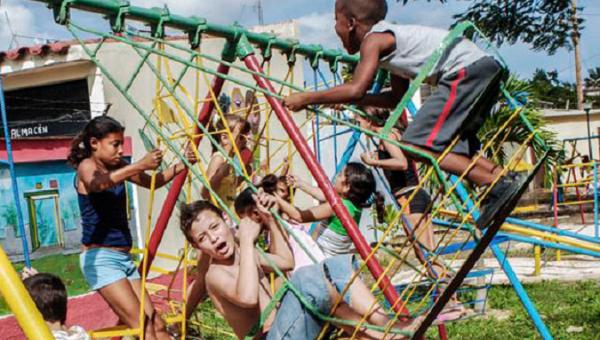Cuban children play at a park in Havana, Cuba.