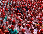 Farmers shout slogans against the government at a rally organized by All India Kisan Sabha (AIKS) in Mumbai, India March 12, 2018.
