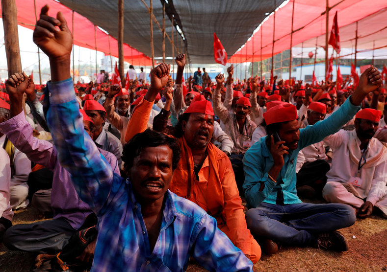 The farmers began their march from the southwestern city of Nashik to Mumbai on Mar. 6, and after walking for nearly 140 hours, tens of thousands of peasants reached Mumbai late Sunday night.